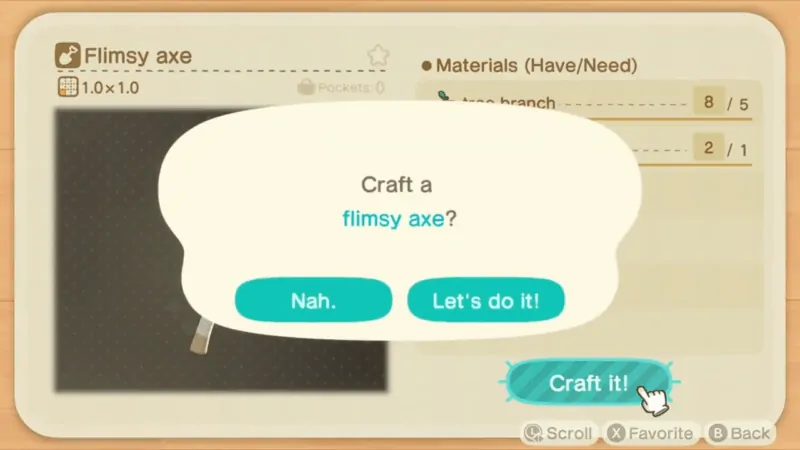 Crafting a flimsy axe at Nook's Workbench