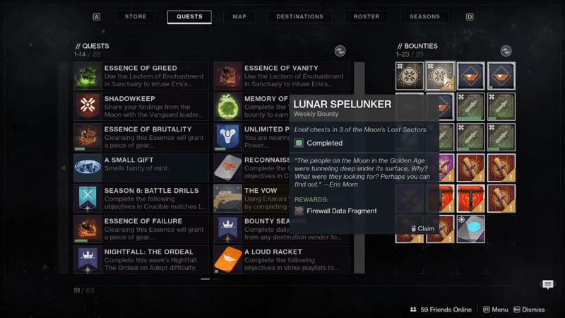 Complete the Lunar Spelunker bounty