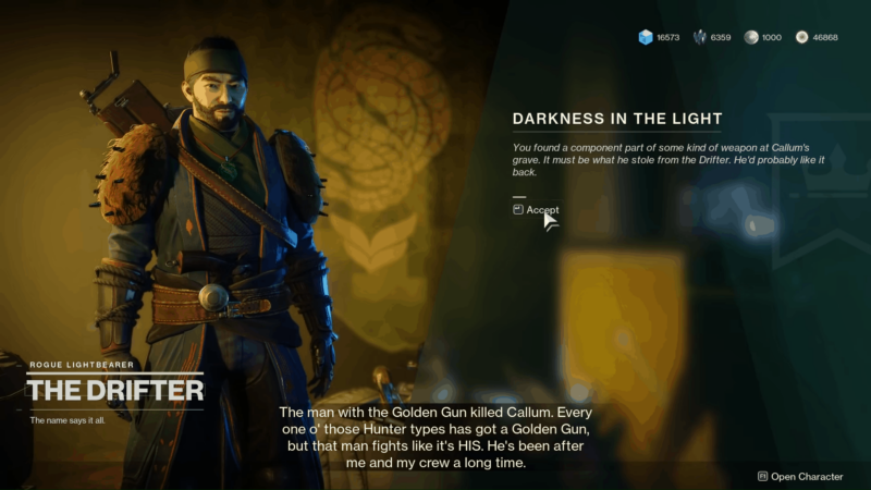 Complete the 'Darkness in the Light' Quest