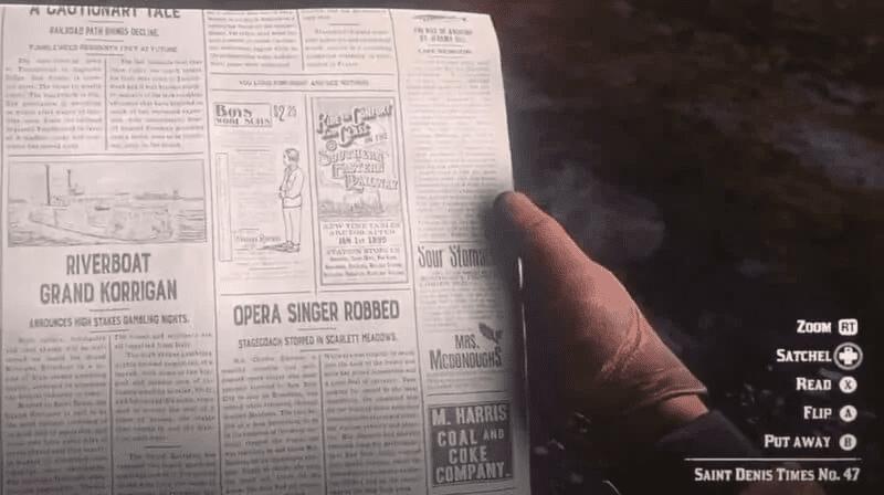 Red Dead Redemption 2 Newspaper Code