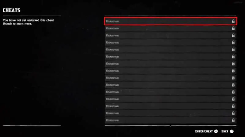 Read Dead Redemption 2 Cheat Screen