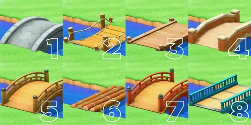 Different types of bridges in Animal Crossing New Horizons