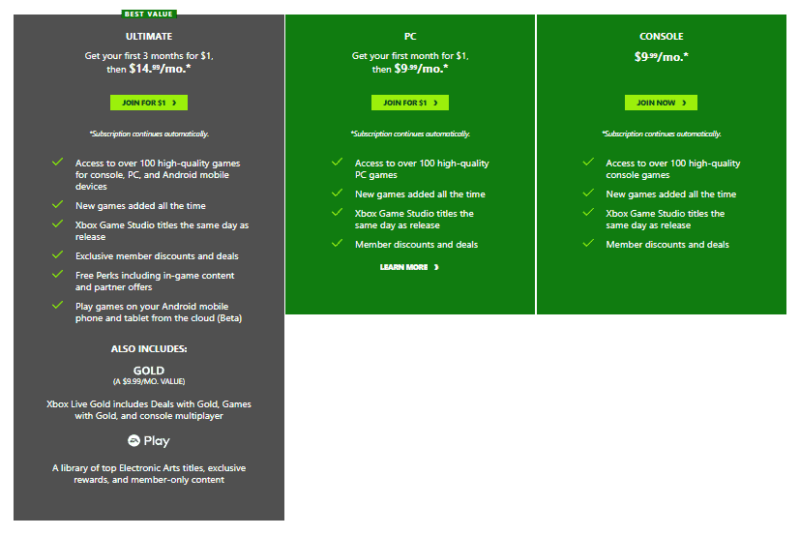 All Xbox Game Pass Plans