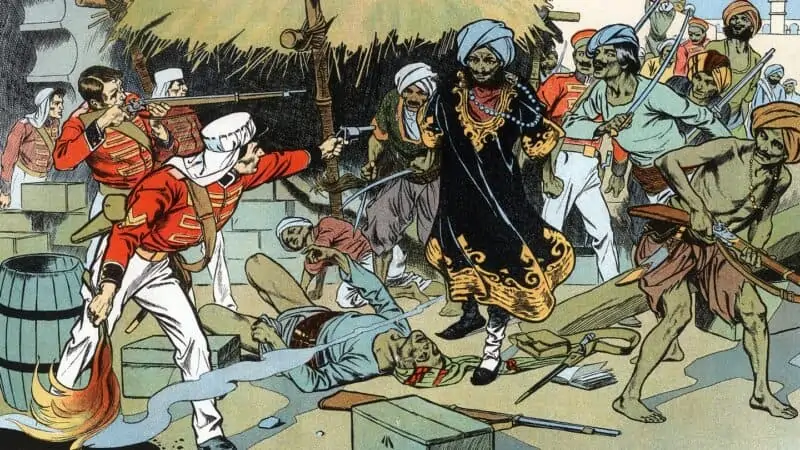 A painting depicting a scene in the British Raj
