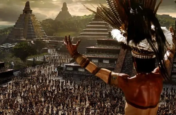 An artist's depiction of a Mayan empire